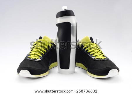 sneakers sport fitness bottle gadget - stock photo