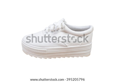 Sneakers, white color isolated background - stock photo