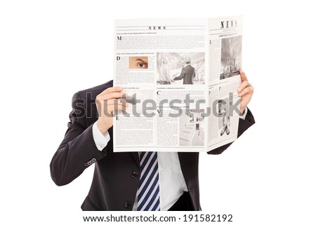 Sneaky boss peeking through a hole in newspaper isolated on white background