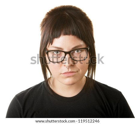 Sneering female adult with nose ring and eyeglasses
