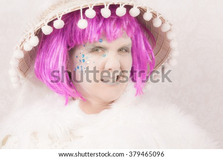 Sneering female circus style character on white background