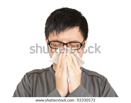 sneeze man - stock photo