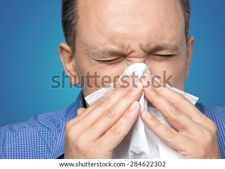 Sneezing, Cold And Flu, Flu Virus. - stock photo