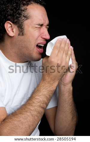 Sneezing Man - stock photo