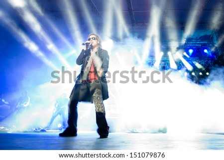 SNINA, SLOVAKIA - AUGUST 8: Tobias Sammet performs with Avantasia project on music festival Rock pod Kamenom in Snina, Slovakia on August 8, 2013 - stock photo