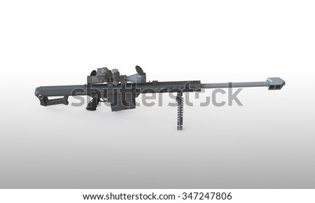sniper rifle isolated on white. With telescopic scope standing on a  flat surface. The Rifle is load and ready to fire - stock photo