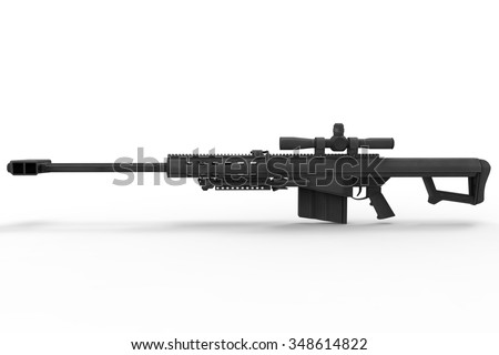 Sniper Rifle Side View - stock photo