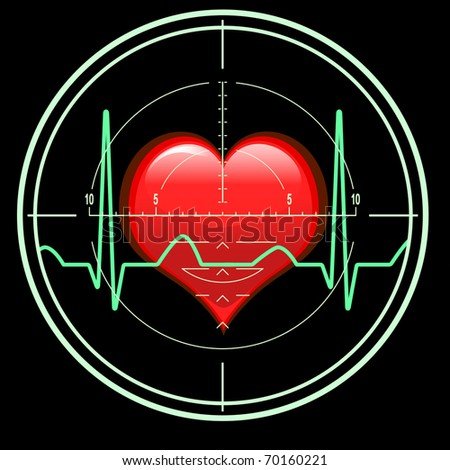 sniper rifle sight with heart beats on black background - stock photo