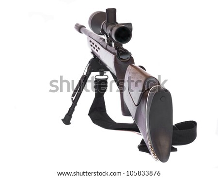 Sniper Rifle with scope attached on a tripod rear view isolated on white background - stock photo