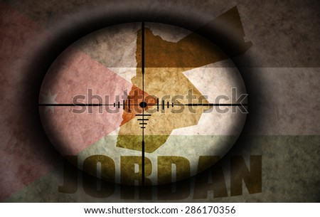 sniper scope aimed at the vintage jordan flag and map - stock photo