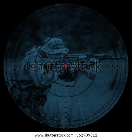 Sniper scope. Night vision.illustration - stock photo