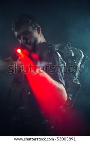 Sniper shooting with laser gun. - stock photo