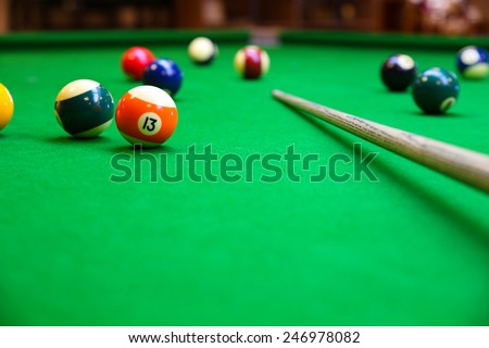 Snooker ball on snooker table, Snooker or Pool game on green table, International sport. - stock photo