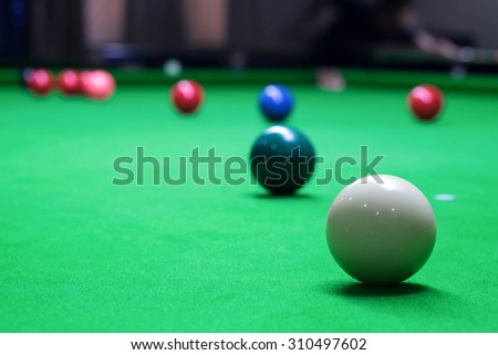 snooker balls on a green table
