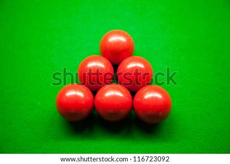 Snooker balls,six balls on the table. Snooker balls in the middle of the picture. - stock photo