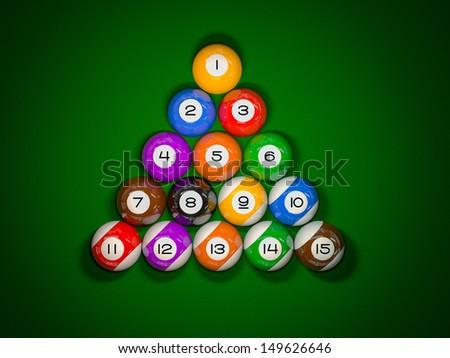 Snooker balls. Top view - stock photo