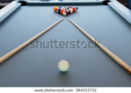 Snooker billiard pool table with balls set, selective focus - stock photo