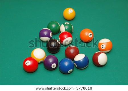 Snooker colorfull balls on the table