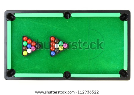 snooker table on white background - stock photo