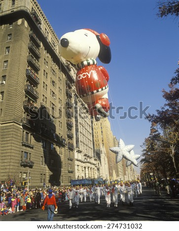 Snoopy and Woodstock Balloons in Macy's Thanksgiving Day Parade, New York City, New York - stock photo
