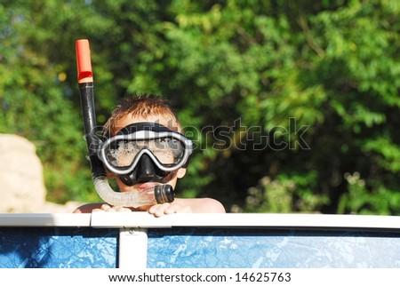snorkeler - stock photo