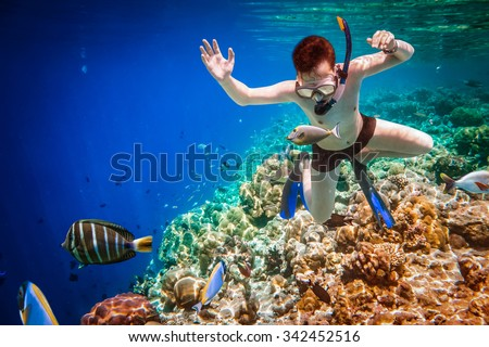 Snorkeler diving along the brain coral. Maldives Indian Ocean coral reef. - stock photo