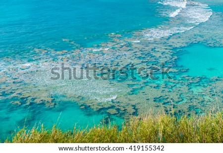 Snorkeling Bay, Hanauma Bay,  in Oahu,Hawaii - stock photo