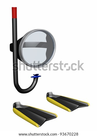 snorkeling equipment including mask, snorkel and fins on a white background - stock photo