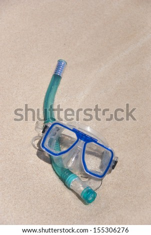 snorkeling gear on beach ready for your use. Just grab it and dive into a perfect paradise like water. Exmouth, Western Australia - stock photo