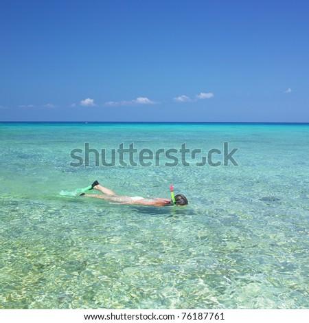 snorkeling, Maria la Gorda, Pinar del Rio Province, Cuba - stock photo