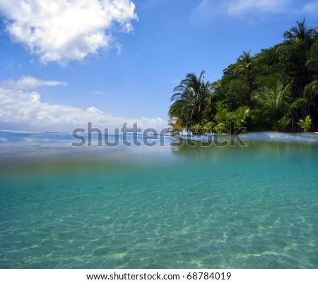 Snorkeling near tropical island in the Caribbean sea, Bocas del Toro, Panama - stock photo