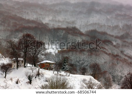 Snow and fog in Pelion mountain, close to Agriolefkes ski center - stock photo
