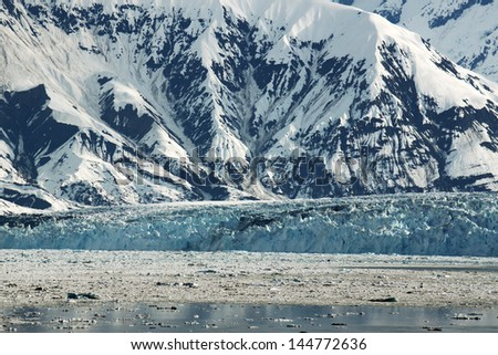 Snow and Ice Covers The Mountains in Glacier Bay  Alaska - stock photo