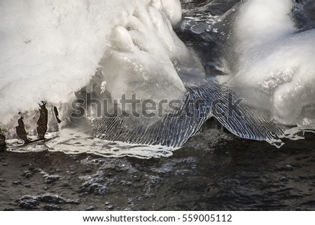 Snow and ice formations on water in cold winter