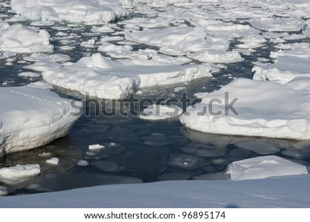 Snow and ice in the Antarctic Ocean. - stock photo