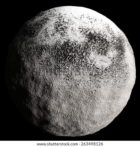 Snow Asteroid isolated on the black background - stock photo