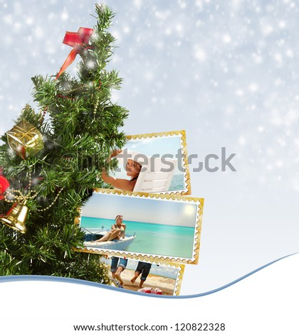 Snow background with Christmas Tree and exotic vacation postcard