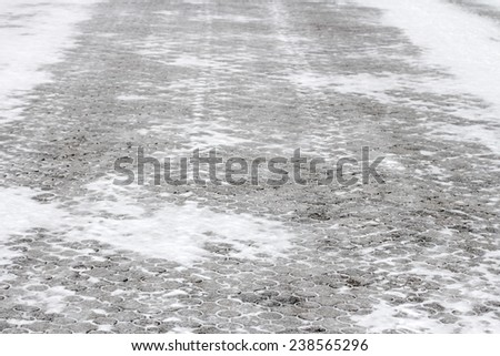 snow blocks, winter background - stock photo