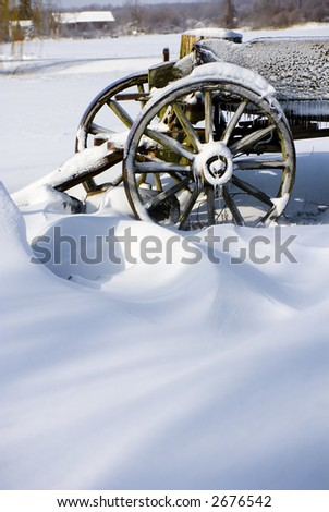 Snow Bound Buckboard - stock photo