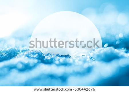 Snow bright abstract winter background close-up bokeh with copyspace