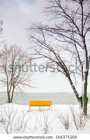 Snow by the sea - stock photo