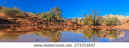 Snow Canyon State Park is a state park of Utah, USA, featuring a canyon carved from the red and white Navajo sandstone in the Red Mountains. The park is located near Ivins, Utah and St. George. - stock photo