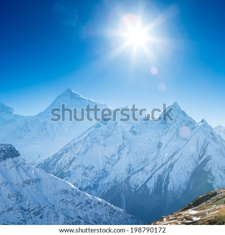 Snow capped mountains. Himalaya, Nepal - stock photo