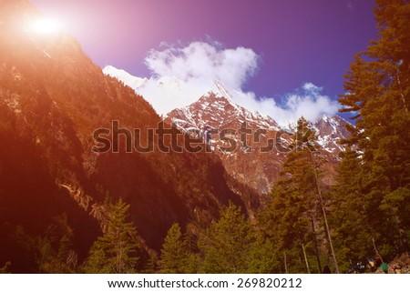 Snow capped mountains. Himalaya, Nepal. Trek around Annapurna mount - stock photo