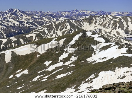 Snow capped peaks in the Rocky Mountains, Colorado - stock photo