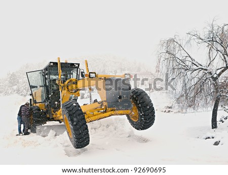 snow chain on tire in winter - stock photo
