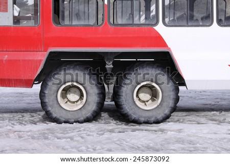 Snow Coach Detail in Jasper National Park. Canada - stock photo