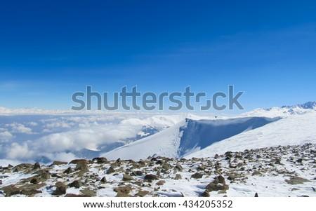 Snow cornise, Gulmarg, Kashmir. - stock photo