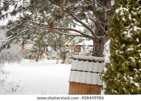 Snow covered backyard with trees. - stock photo