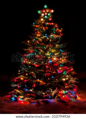 Snow Covered Christmas Tree with Multi Colored Lights at Night - stock photo